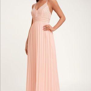 Lulu's Blush Pink Embroidered Maxi Dress